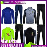 Wholesale Matches Windproof - 2017 Chelsea Sweater 2016 17 Long Sleeve Grey Jacket Match Black Pants Soccer Jersey 2016 Chelsea Sweater Tracksuit Set Soccer Training Suit