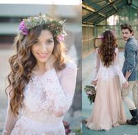 Wholesale Chiffon Long Floral Skirt - Country Style Champagne Long Poet Sleeves Boho Wedding Dresses Jewel Neck Lace Appliques Chiffon Paneled Bohemian Wedding Dresses 2016