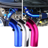 Wholesale Aluminum Intake Pipe - 3 color Aluminum Universal Vehicle SUV Truck Car Air Intake Tube Pipe Air-Intake Duct Hose Silver Color 76mm