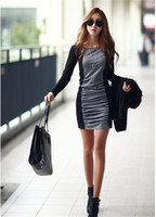 Wholesale Korean Bodycon Skirt - Free Shipping The new Korean version of autumn and winter dress skirt round neck long-sleeved stitching hit color skirt