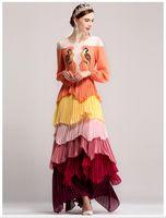 ingrosso abiti arancioni abiti-Runway Dress 2017 Arancione / Verde Increspature a cascata Uccelli Ricami Abito lungo da donna Taglie forti Piumini DH010