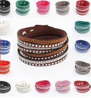 Wholesale Crystal Rhinestone Leather Bracelets - 17 colors Wholesale-Wholesale Rhinestone Bling Double Leather Wristband Fashion Slake Deluxe Multi Color Crystal Wrap Bracelets For Women