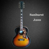 Wholesale acoustic jumbo - Free shipping 43 inch sunburst color acoustic guitar, solid spruce top,hot selling,Made in China