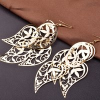 Wholesale Gold Layer Earrings - LNRRABC Gold Silver Color Leaves Long Drop Earrings Women Multi-Layers Hollow Big Dangle Earrings Fashion Jewelry Gift