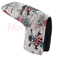 Wholesale Leather Putter Headcovers - Fashion skull england flag Magnet golf putter head cover great PU leather quality golf headcovers