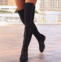 Wholesale European Knight - 2017 autumn winter new European and American fashion ladies fashion knee-length flat lace boots women's large size sexy nightclub suede boot