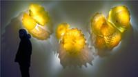 ingrosso piastre in vetro soffiato-100% soffiato a mano in vetro di Murano Piatti in vetro giallo Galss appeso in vetro per montaggio a parete Lampade Dale Chihuly Style Glass Wall Art