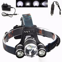 Wholesale Outdoor Headlights - Super White LED Head Torch 3x CREE XM-L T6 Rechargeable LED Headlamp LED Headlight Outdoor Riding Lamp EU Plug