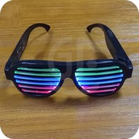 Wholesale Dance Club Costumes - Novel Sound Sensitive Light up Glasses Music activated el wire for music party, dancing, club, Halloween Christmas costumes party LED Toys