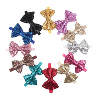 Wholesale baby girl hair accessories wholesale online - New Children Girls Shinning Big sequins Bow Headbands Kids Baby Handmade Hairands Hair Accessories Prince Headdress Photo Props KHA401