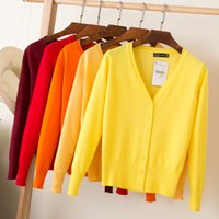 Wholesale Womens Orange Sweater - New Korean Loose Sweater Short Jacket Womens Cardigan Thin Long Sleeve Spring And Autumn Women Knit Cape Coats V-Neck Solid Cotton Knitwear