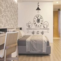 Horloge Murale À Prix Bas Pas Cher-Grosses soldes!!! Coupe Belle Design Café PVC Wall Clock Kitchen Restaurant Home Decor Decal Prix le plus bas