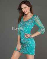 Wholesale Sexy Party Coctail Dresses - Sexy Short Cocktail Dresses 2016 with Sleeves Crystal Beaded Coctail Prom robe de Cocktail Party Dresses vestido de festa curto