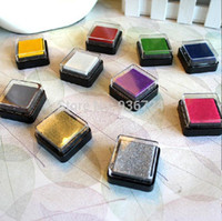 Wholesale Wholesale Ink Pads - Wholesale-Free Shipping 12pcs Lot 12 Colors Lovely Plastic Color Ink Pad Inkpad Stamp Pad Set Handmade Scrapbooking Funny Work DIY