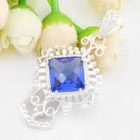 Wholesale Blue Topaz Sterling Jewelry - 6pcs   lot Trendy Square Colored Blue Topaz Gemstone 925 Sterling Silver Pendant Daily Jewelry