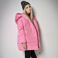 Wholesale Double Hood Jacket - Women Winter Coat Jacket White Down Coat Women Long Thickening Warm Hood Over Coat Parkas Jacket Black Gray Pink Parka Coats for Women