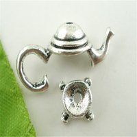 Wholesale Teapot Charm Bead - Zinc Alloy 100 Sets Gold Tone Silve Tone Teapot Bead Cap Set Findings 21x9mm