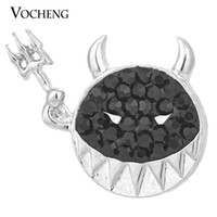 Wholesale Black Bling Buttons - VOCHENG NOOSA 18mm Halloween Gift Button Jewelry 3 Colors Bling Crystal Ginger Snap Vn-1051