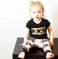Wholesale Rad Shorts - Summer Boys Girls Baby Childrens Clothing Sets Cotton RAD T-shirts Harem Pants 2 Set Cartoon Golden Printed Kids Girl Clothes Suits