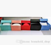 caisse d'oreiller à bijoux achat en gros de-Boîtes de montre Boîtes à bijoux en papier Carré Montre Case avec Oreiller Boîte d'affichage Cadeaux Paquet Boîtes de rangement pour Bracelet de cheville