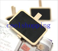 Wholesale Small Wood Clip - Wood Cute Mini Blackboard Clip On Message Small Chalkboard Wooden Photo Notes Clip Stationery