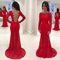 Wholesale Charming Organza Wedding Dresses - Charming Red Lace Evening Dresses with long sleeves 2018 backless mermaid prom dress sheer formal party gown vestido de festa