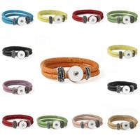 Wholesale Bracelet 24pcs - Pack Of 24pcs Ginger 9 Color Removable Leather Braided Bracelets NOOSA Snap Button Bracelets Fit Snaps Interchangeable Jewelry E650E