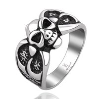 Wholesale New Arrival Vintage Style Rings - Skeleton Men Jewelry Stainless Steel Ring Halloween Gifts Vintage Black New Arrival Handmade Antique Style Charm Size 7 8 9 GMYR009