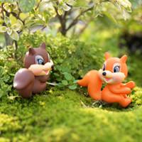 ingrosso vasi da giardino della resina-Nuovo simpatico mini scoiattolo 3 cm del fumetto Pot Decor fata giardino miniature gnomes moss terrari in resina mestiere per la decorazione domestica zakka