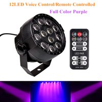 Wholesale Led Spotlights Purple - 12Leds Sound Active DMX512 Led Stage Par Light Full Color Purple Led Spotlight Lamp for Christmas Home Party Disco DJ Projector