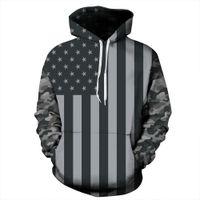 Wholesale American Flag Hoodies - Fashion Long Sleeve Grey American Flag Pattern 3D Painted Hoodie