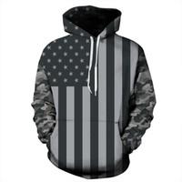 ingrosso maglione bandiera delle donne-Felpa con cappuccio per uomini e donne stampati 3D Bandiera americana popolare Felpa con cappuccio Oversize Pullover Maglia manica lunga