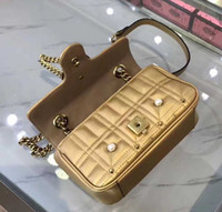 Wholesale Brass Bag - Hotsale brand new top quality women advanced genuine leather pearls flap golden brass chain handbag Shoulder Bag tote purse G010