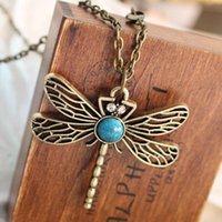 Wholesale Dragonfly Wind - Wholesale-Preferential and the wind Dragonfly turquoise jewelry retro personality hollow necklaces wholesale fashion women's sweater chain