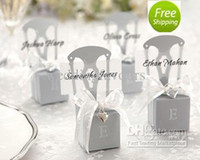 Wholesale Chairs Favors - Free Shipping 12pcs Wedding Faovrs Miniature Silver Chair Favor Box with Heart Charm Ribbon&Paper card Cheap Party Favors