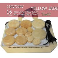 Wholesale Jade Hot Stones - NEW Tontin 16pcs set yellow jade body massage hot stone beauty salon SPA tool with heating bag 110V or 220V ysgyp-nls