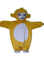 Wholesale Monkey Mascot Head - With one mini fan inside the head A yellow monkey mascot costume with for sal