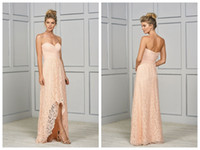 2018 Abiti da damigella d'onore Prom Dresses Blush Chiffon Lace Jasmine Bridesmaids Abiti Sweetheart Pleats Backless Hi-Lo Custom Made