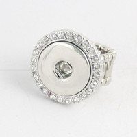 Wholesale elastic stone ring - 18 mm set auger Noosa DIY ring snap button elastic ring
