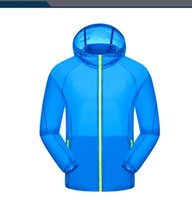 Wholesale Clothing Out Door - Fall-2016 new lovers sunshade women men unisex Anti UV protection waterproof out door wear clothes sport thin hooded trench jacket
