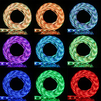 Wholesale Led Strip Bicycle - New RGB LED strip 300LED DC 5V led strips 5m RGB SMD5050 60LED m Flexible LED Strip for TV Car Computer bike bicycle Tent Lighting