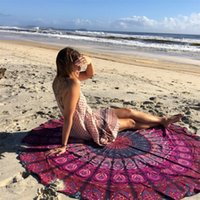 Wholesale Beach Towels Pink Black - Wholesale Round Beach Towel Bohemia Print For Adults Peacock Mandala serviette de plage Bohemia bain para playa toallas