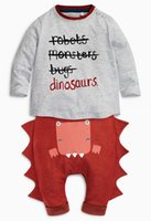 Wholesale Boys Dinosaur Suit - Baby Boys Clothing Sets 2016 New Autumn Halloween Baby Clothes Long Sleeve Letter T shirt Dinosaur Casual Pants Suit free shipping