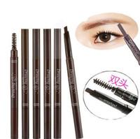 kozmetik berabere toptan satış-Etude Evi Çizim Göz Kaş Üçgen Şekli Doğal Kaş Kalemleri Fırçalar Arttırıcılar Makyaj Göz Kozmetik Siyah Kahverengi Gri 6 Renkler