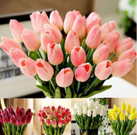 Wholesale Decoration Display - Tulip Artificial Flower 2016 Real Touch PU Artificial Bouquet Flowers For Home Decoration Wedding Decorative Flowers