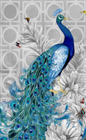 Wholesale Peacock Canvas Painting - Part Of The Drill Peacock Diamond Embroidery 5d Diamond Painting Kits For Square Drill Rhinestone Embroidered Mosaic Needlework