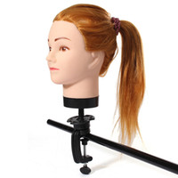 Wholesale female mannequin free shipping resale online - Hot Selling Gold CM Length Training Head High Temperature Fiber Hair Hairdressing Female Mannequin Training Head