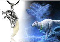 Wholesale Antique Sterling Silver Necklaces - Mens-Antique Silver Wolf- dog Titanium-Steel-Tooth-Pendant-Necklace-Cord-Chain star represent HOT