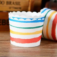 Wholesale Cupcake Paper Cups Cheap - Colorful stripes cupcake case, muffin paper cups tin liners, cheap cupcakes boxes holder supplies