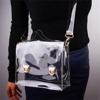ingrosso chiaro sacchetti tote trasparenti-2017 nuova moda pvc trasparente borsa trasparente borsa a tracolla tote donne messenger croce borsa esterna telefono frizione borse